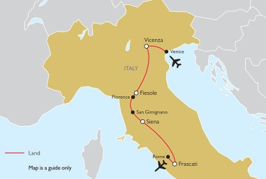 Villas and Gardens of Central Italy TOUR MAP