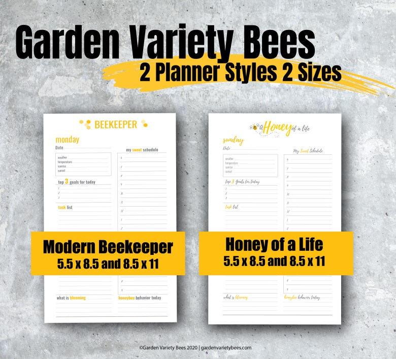 Modern Beekeeper and Honey of a Life Planner styles