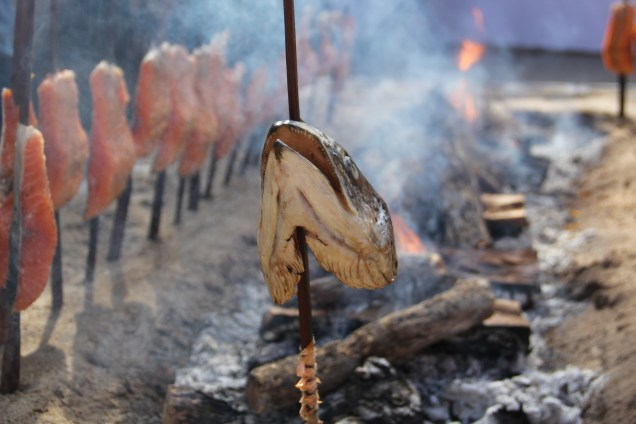 Salmon head placed at one end of the fire, the tail at the other. Photo by Elizabeth Hoover