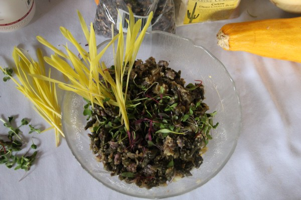 """Loretta's """"Three Sisters and Friends"""" Salad, which includes hominy corn, tepary beans, summer squash, wild rice, quinoa, micro greens, cilantro and corn shoots, with a vinagrette dressing. Photo by Elizabeth Hoover"""