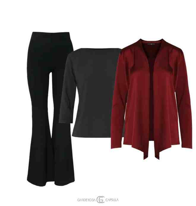 Pantaloni evazaţi + Body mânecă lungă + Cardigan satin La fel de confortabilă, dar puţin mai elegantă
