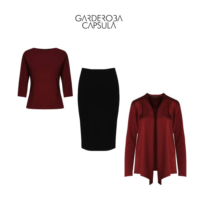 Fusta conică top cardigan