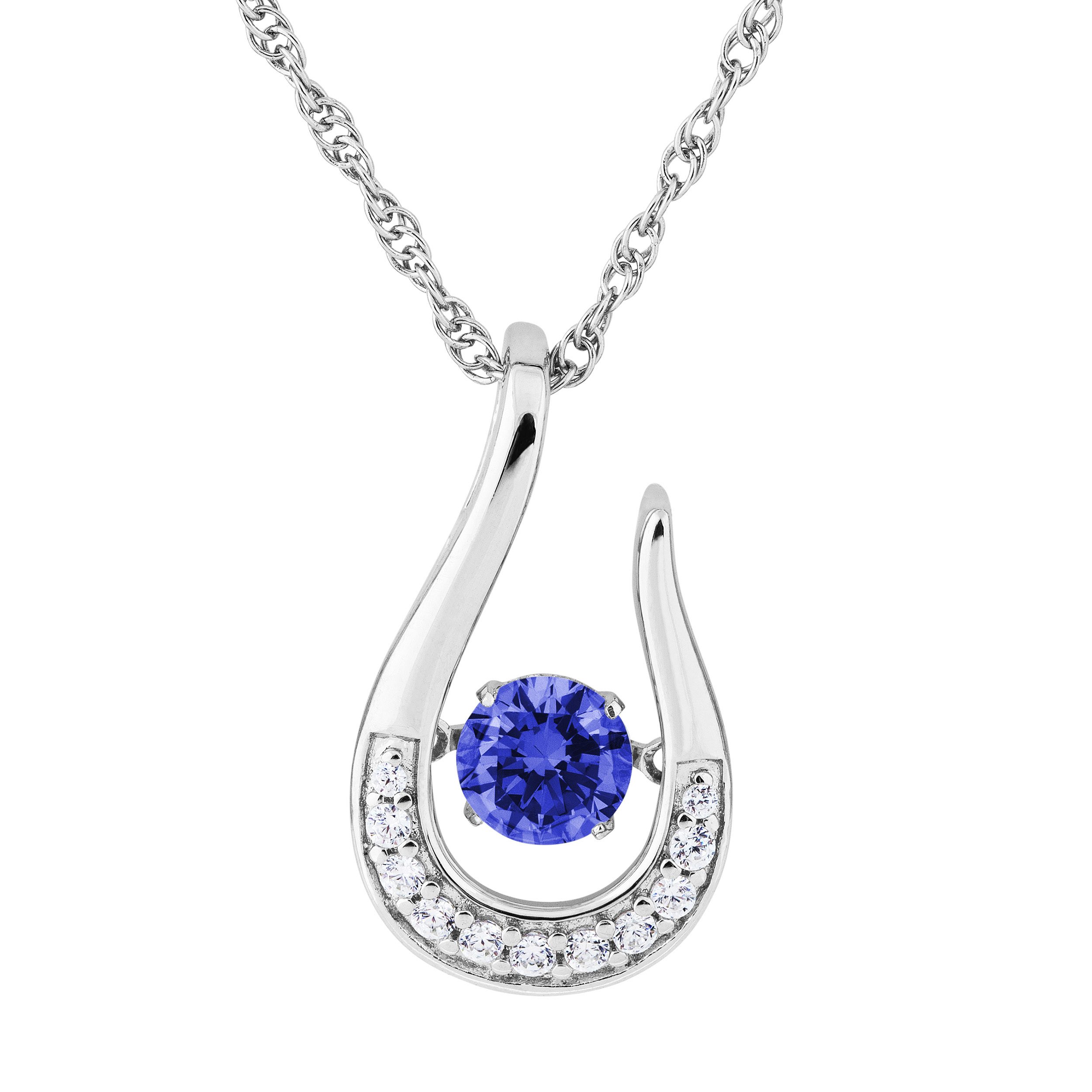Twinkling Blue CZ Silver Pendent