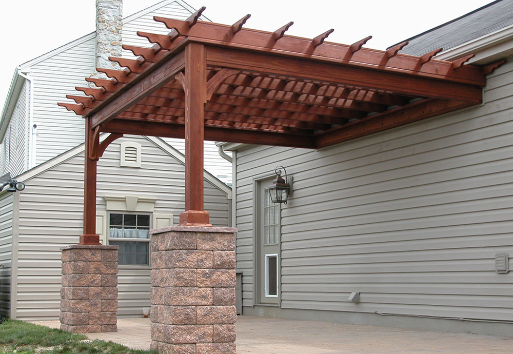 covered pergola designs attached to house