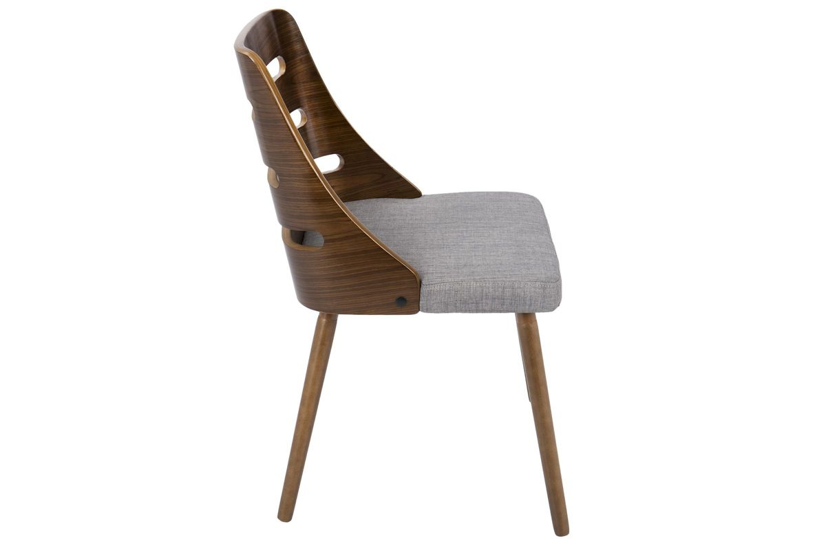 Trevi Mid-Century Modern Dining Chair In Grey Fabric And