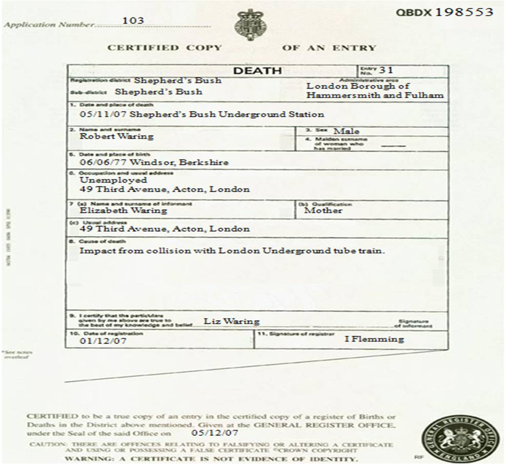 Robb Slipped death certificate