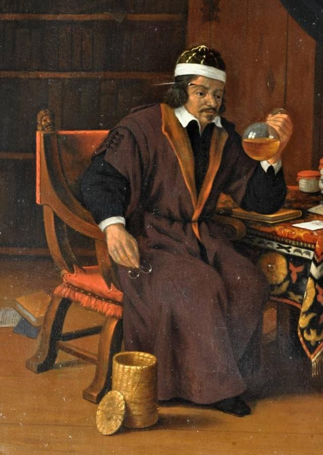 Doctor Inspecting a Flask of Urine; Evert Oudendijck, Haarlem.
