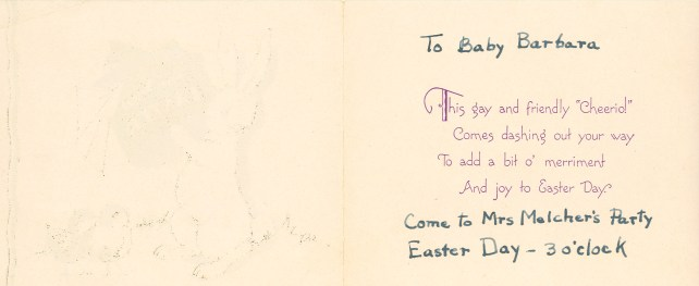 easter invite a Barbara Willis 1936 Easter Party invite