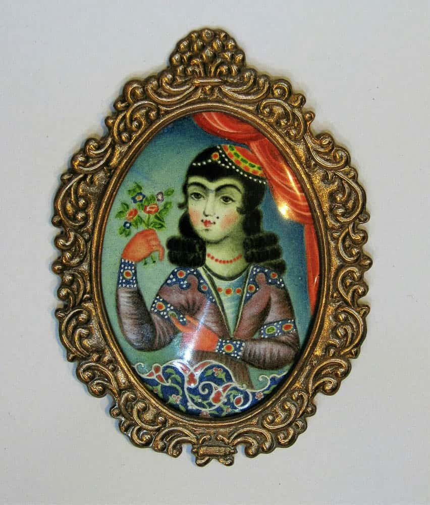 Neda Khalatabadi, painting enamel on copper, engraved copper frame, size with frame, 9.2 x 6.7 cm