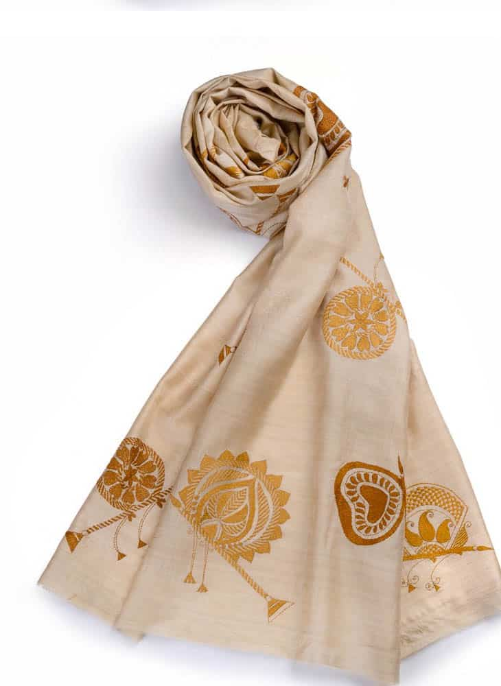 "M. Sikdar, Kantha embroidery, 2013, Tussar silk,70""X 100"""