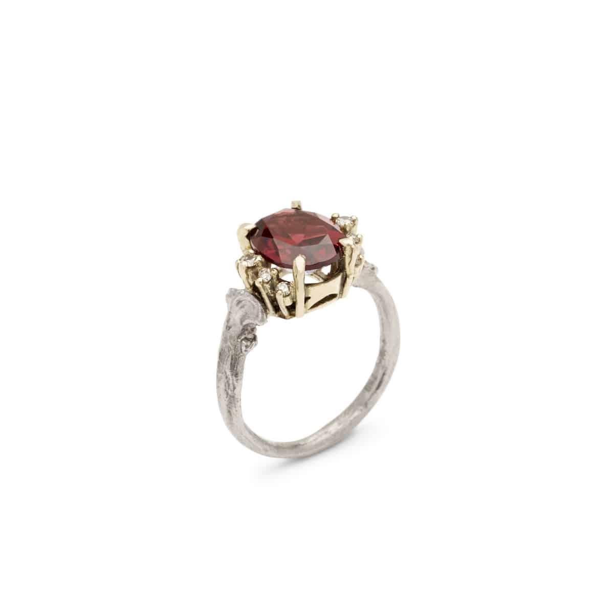 Julia deVille, Bone Ring Majesty, 2016, 18ct white & yellow gold, garnet, cognac diamonds, dimensions variable, Courtesy of the artist