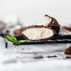 chocolate peppermint patty candy with a mint leaf