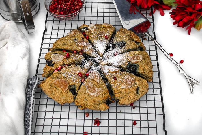 circle of berry scones on a cooling rack