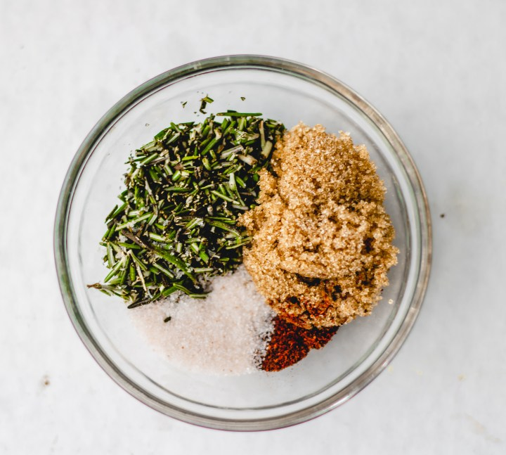 glass bowl of rosemary and spices