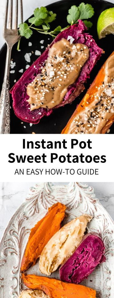 How To Cook Sweet Potatoes in an Instant Pot or Pressure Cooker - my go-to method + some recipe ideas! This simple technique insures perfectly cooked potatoes every time. No oven required! #sweetpotato #potato #instantpot #pressurecooker #weeknightdinner #healthy #prep #mealprep #quick #fastdinner #purplesweetpotato #yam