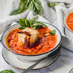 This easy Vegan Tomato Soup recipe comes together in just 30 minutes, making it a perfect weeknight meal. Add some fun flavor with Giant Cheesy Croutons! It's a vegan and gluten-free recipe the whole family will love.