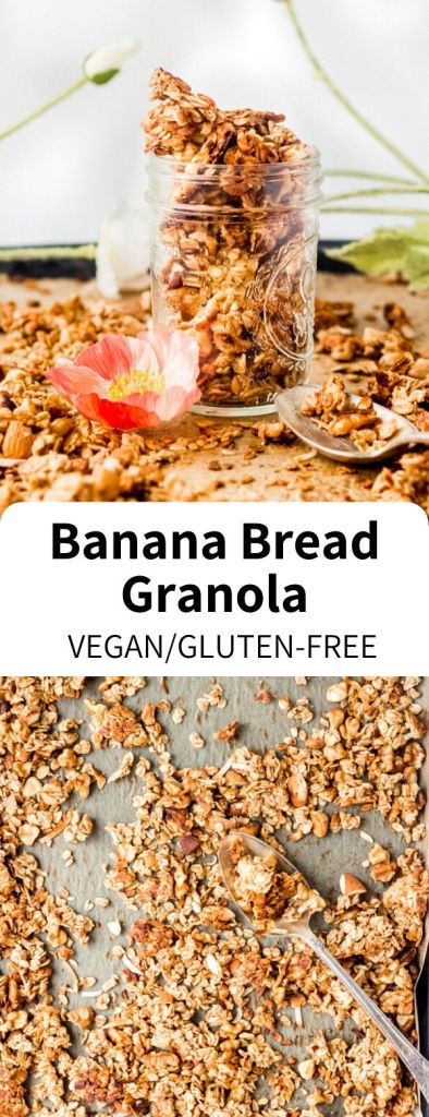 This healthy granola recipe is easy to make and full of cozy banana bread flavor! Naturally sweetened and packed with vegan protein, this simple treat is great for breakfast or as a snack. #banana #bananabread #granola #healthygranola #vegansnack #healthyrecipe #plantbased #plantprotein #glutenfree #mealprep #breakfast #veganbreakfast #bowlmeal