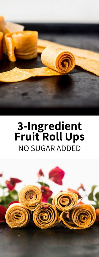 Homemade Fruit Roll Ups are a great on-the-go healthy snack made with just three ingredients! No dehydrator is needed for this like classic mango fruit leather. Vegan, gluten-free, and no sugar added!