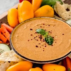 easy spicy peanut dip with crudite