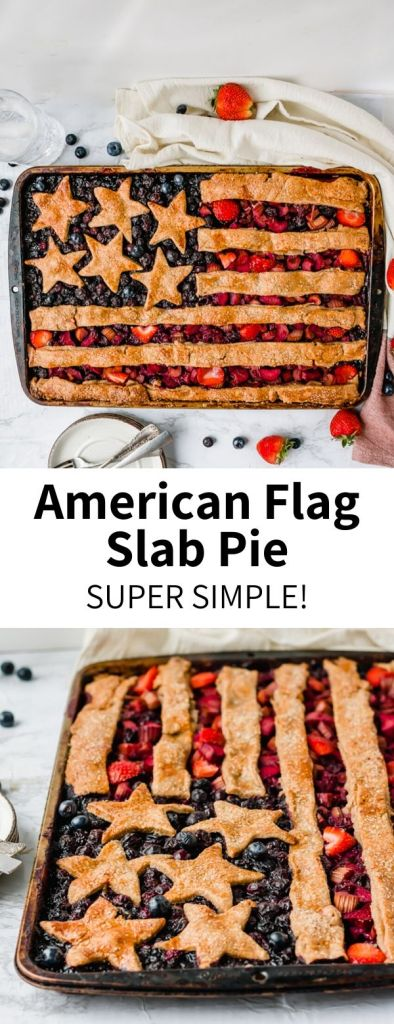 This American Flag Slab Pie is a fun baking project that is much easier than it looks, using store-bought pie crust! Filled with sweet blueberries and strawberries, it's a perfect 4th of July dessert recipe that will feed the whole family. Serve with vanilla ice cream for a red, white, and blue treat.Totally vegan!