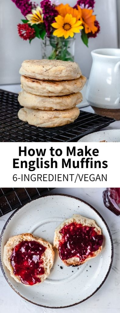 The simplest recipe for Vegan English Muffins, made with just 6 ingredients! These are full of classic flavor and delicious when toasted (with butter + jam) or on a Breakfast sandwich. Much richer in flavor than store-bought, you'll want to keep a stash on hand!