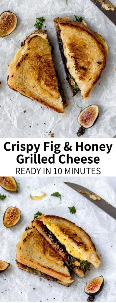 This Fig and Honey Grilled Cheese is a grown-up spin on a classic childhood favorite! This sandwich with crispy sourdough bread lined with sweet fig jam, sticky honey (or agave), and melty vegan cheese will be your new favorite lunch!
