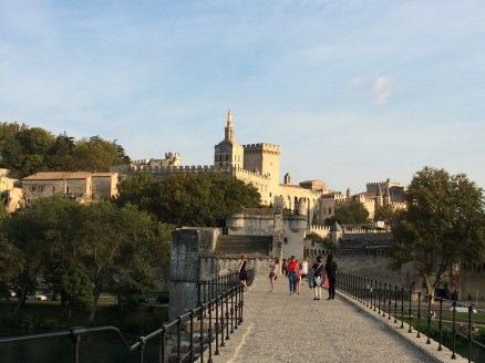 Looking back at the Palace of the Popes from the broken bridge