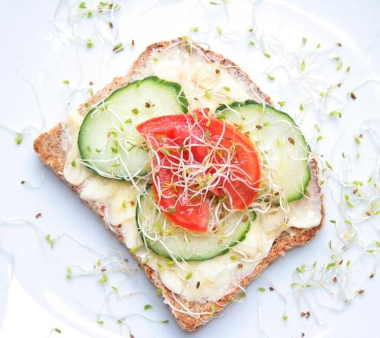 raw garlic on toast