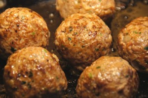 cooked meatballs in the pan closeup