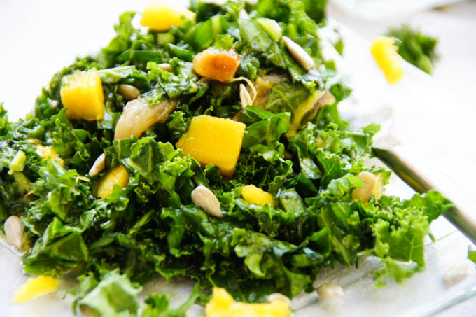 Kale, Mango, Caramelized Garlic Salad