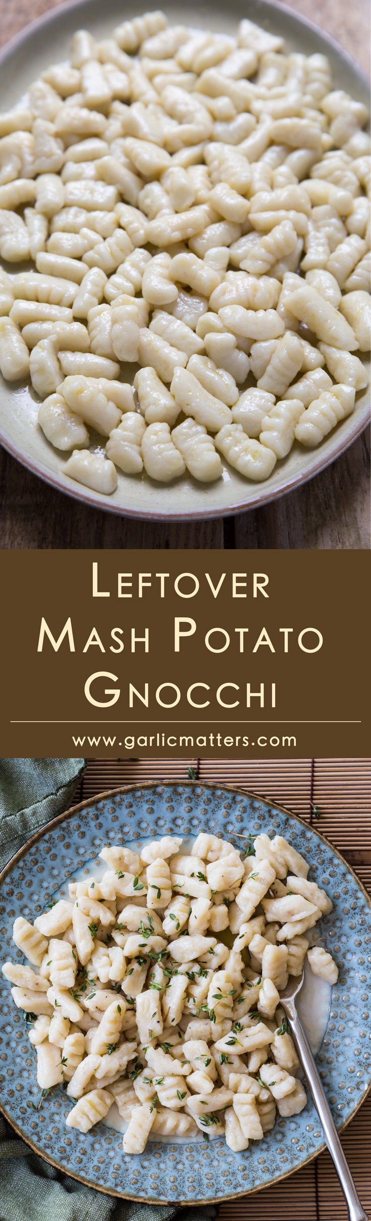 Foolproof leftover mash potato gnocchi recipe - simple, easy, tasty & homemade. Great alternative to pasta or potatoes for both comfort style dinner or lunch. Perfect for vegetable ragu, meaty stew or goulash, fried bacon, caramelised onions or garlic herb butter.