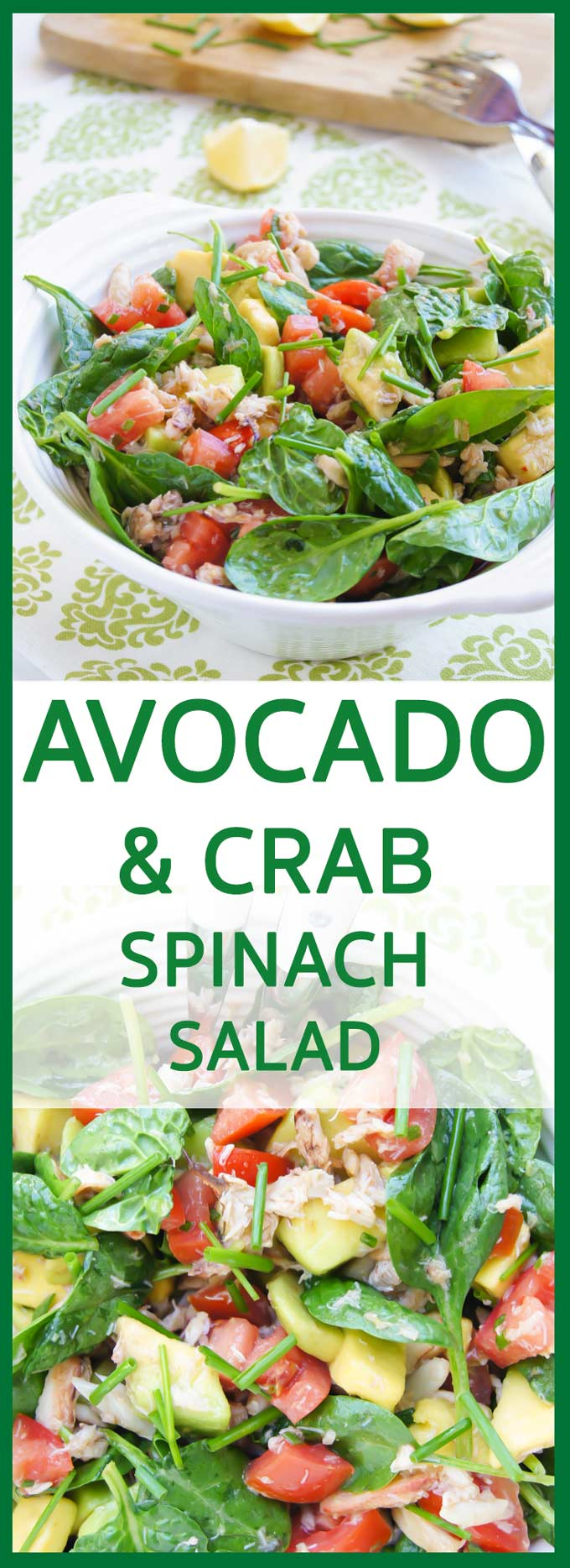 Fresh, juicy and creamy Crab, Avocado, Tomato and Spinach Salad recipe is really delicious 10 min, easy and healthy lunch crowd pleaser.