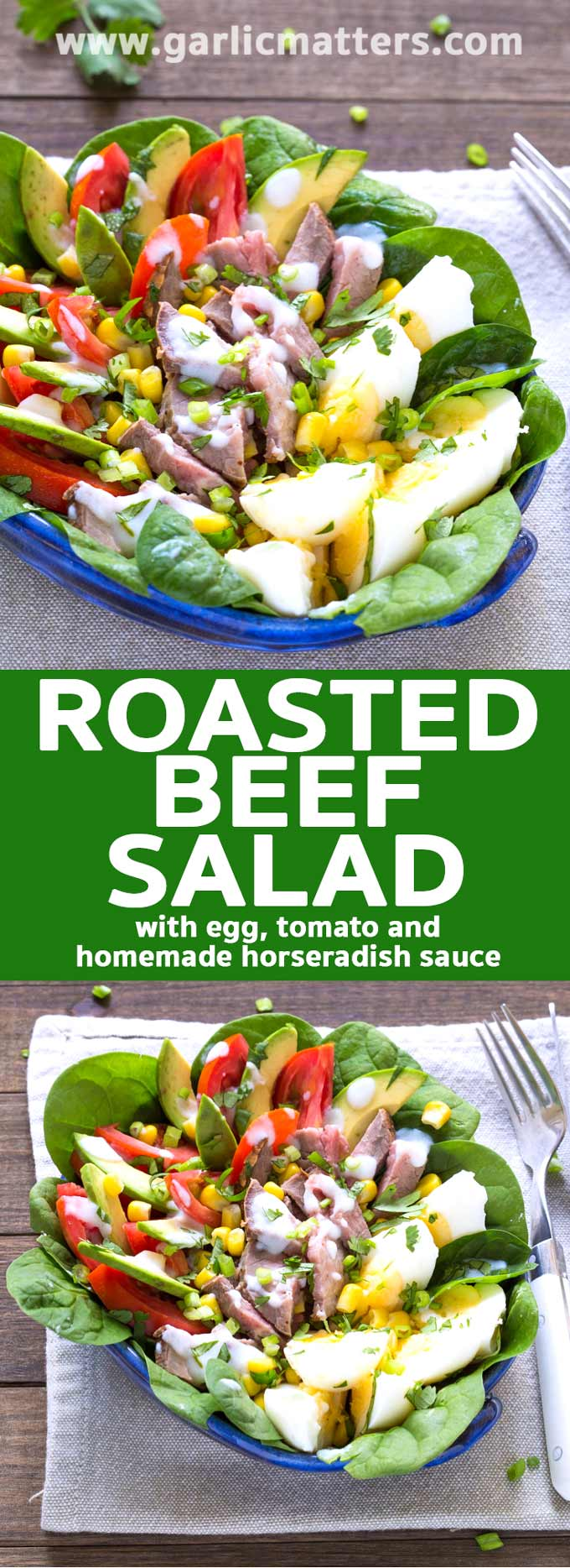 Delicious Roasted Beef Egg Horseradish Salad recipe - satisfying, easy and healthy - plus great tips for a great, homemade horseradish sauce!
