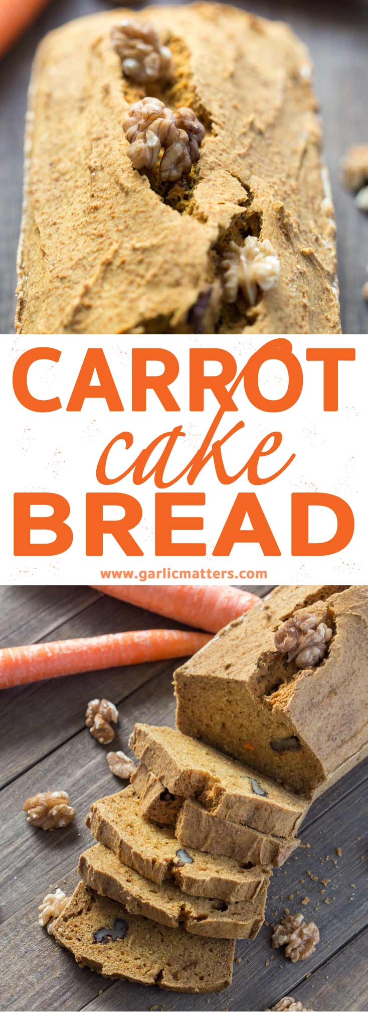 Easy Carrot Cake Bread recipe (GF) - new way to enjoy the delicious cake, but with less sugar and hassle. Great with morning tea or coffee!