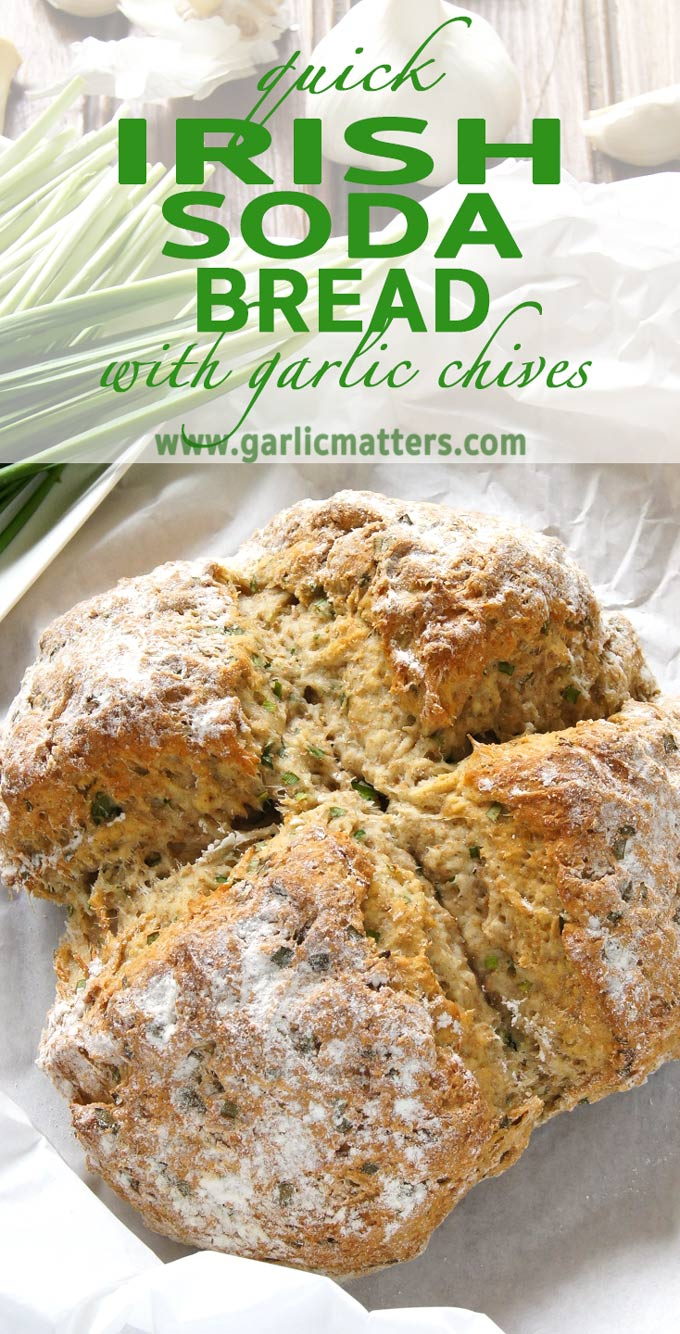 The easiest Quick Irish Soda Bread with Garlic Chives recipe - delicious, fragrant bread you can make in your kitchen in only 30 min!