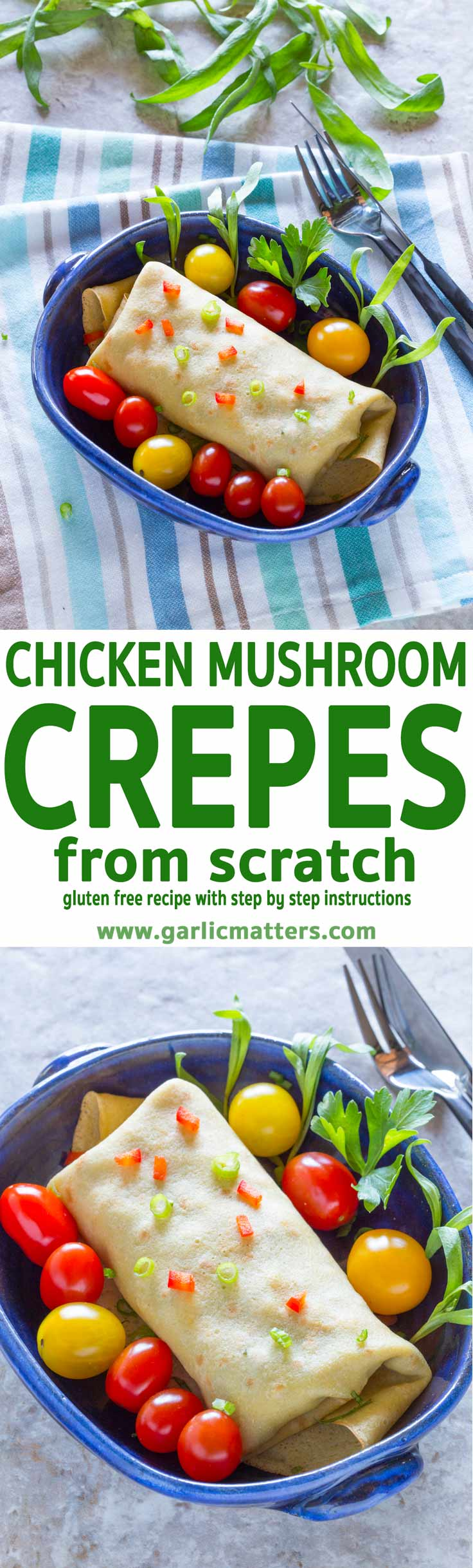 Delicious Chicken Mushroom Crepe recipe made from scratch - gluten free, with simple ingredients, bold flavours and foolproof instructions.