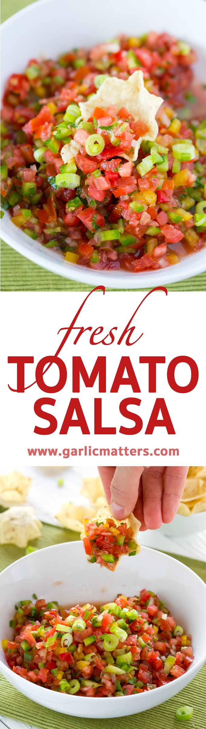 This Fresh Tomato Salsa Recipe is the best for any Springtime party success. Easy, delicious, vegan, ready in 15 minutes crowd pleasing dip.