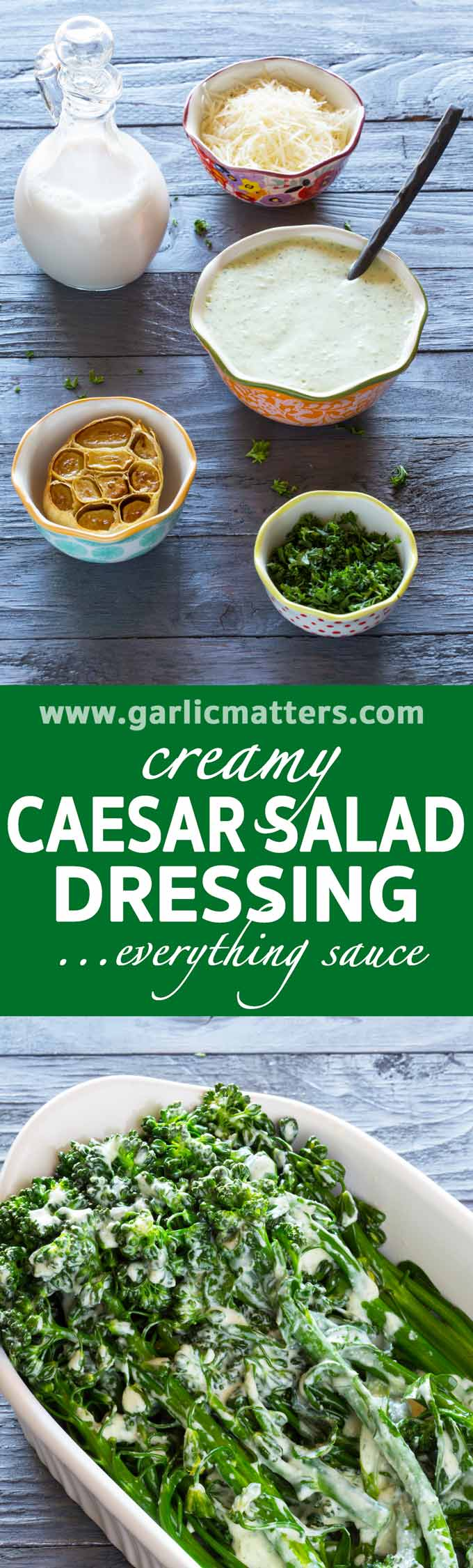 Creamy Caesar Salad Dressing Everything Sauce is perfect also with pizza, burgers, tacos, any fresh or steamed veggie salad - delish!