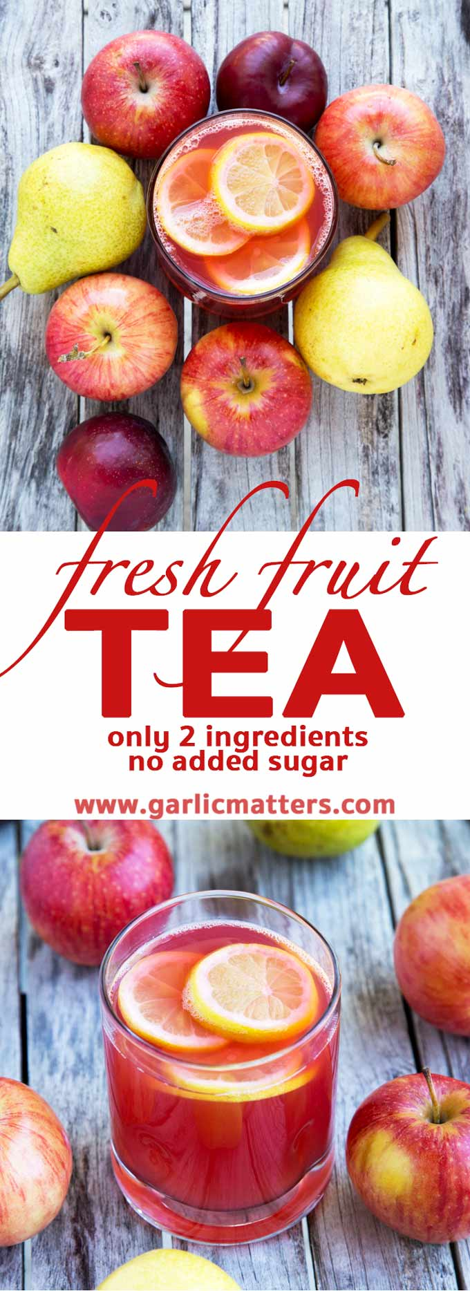 Naturally sweet Fresh Fruit Tea is a super healthy, nonalcoholic, refreshing, kid friendly beverage made with fresh fruit and water only.
