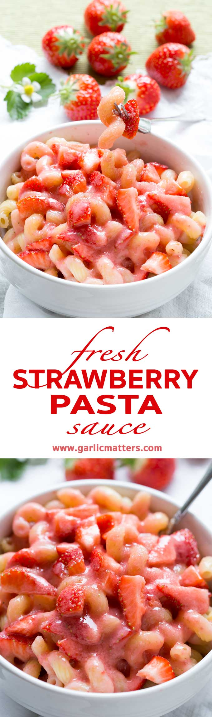Fresh Strawberry Sauce Pasta is a perfect, 10 minute dish that your kids will love. Easy, quick and only 4 ingredients lunch or snack.