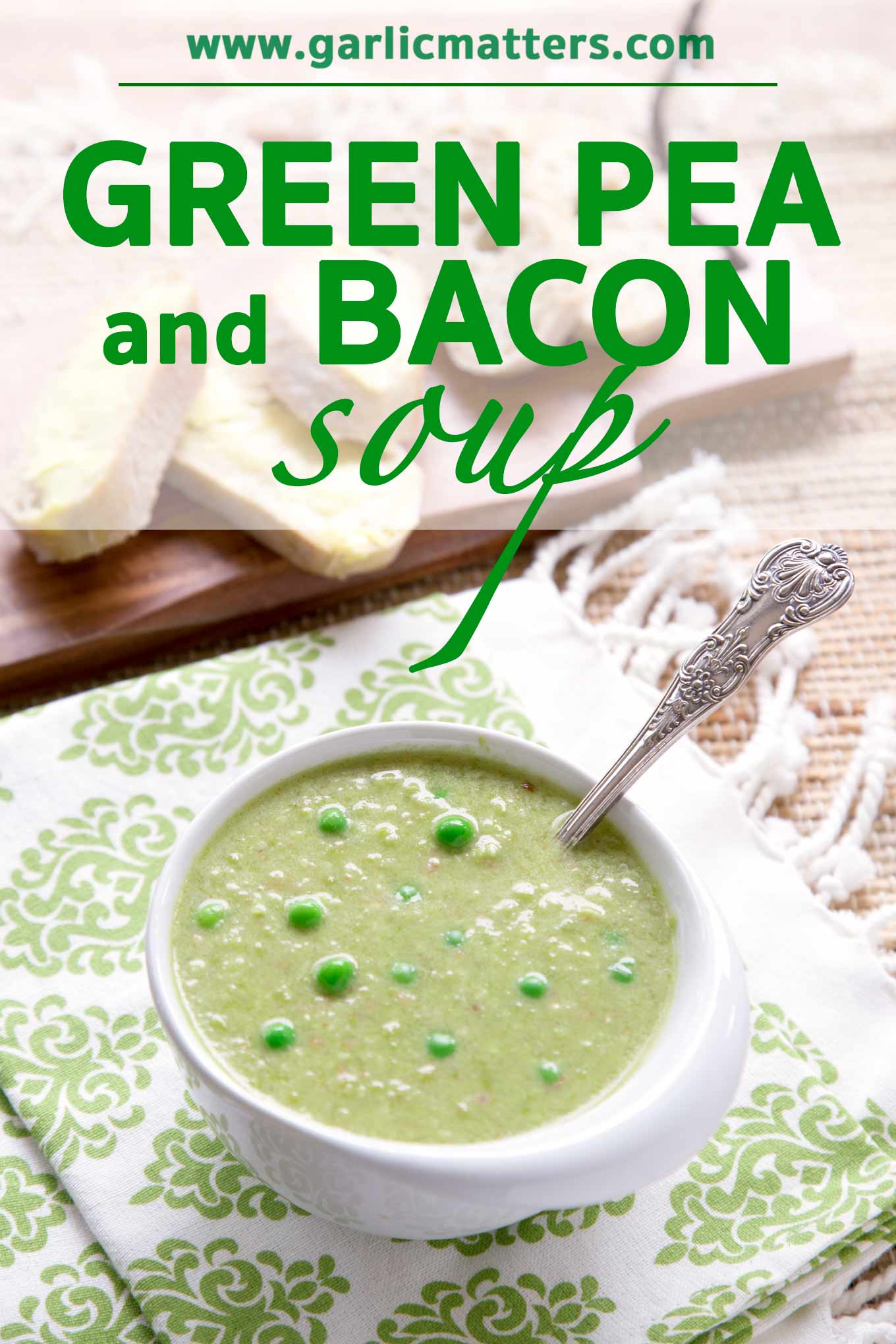 Green Pea and Bacon Soup Recipe is a delicious, gluten-free and quick. Ready in 30 min rustic, sweet and earthy, made with fresh, green peas.