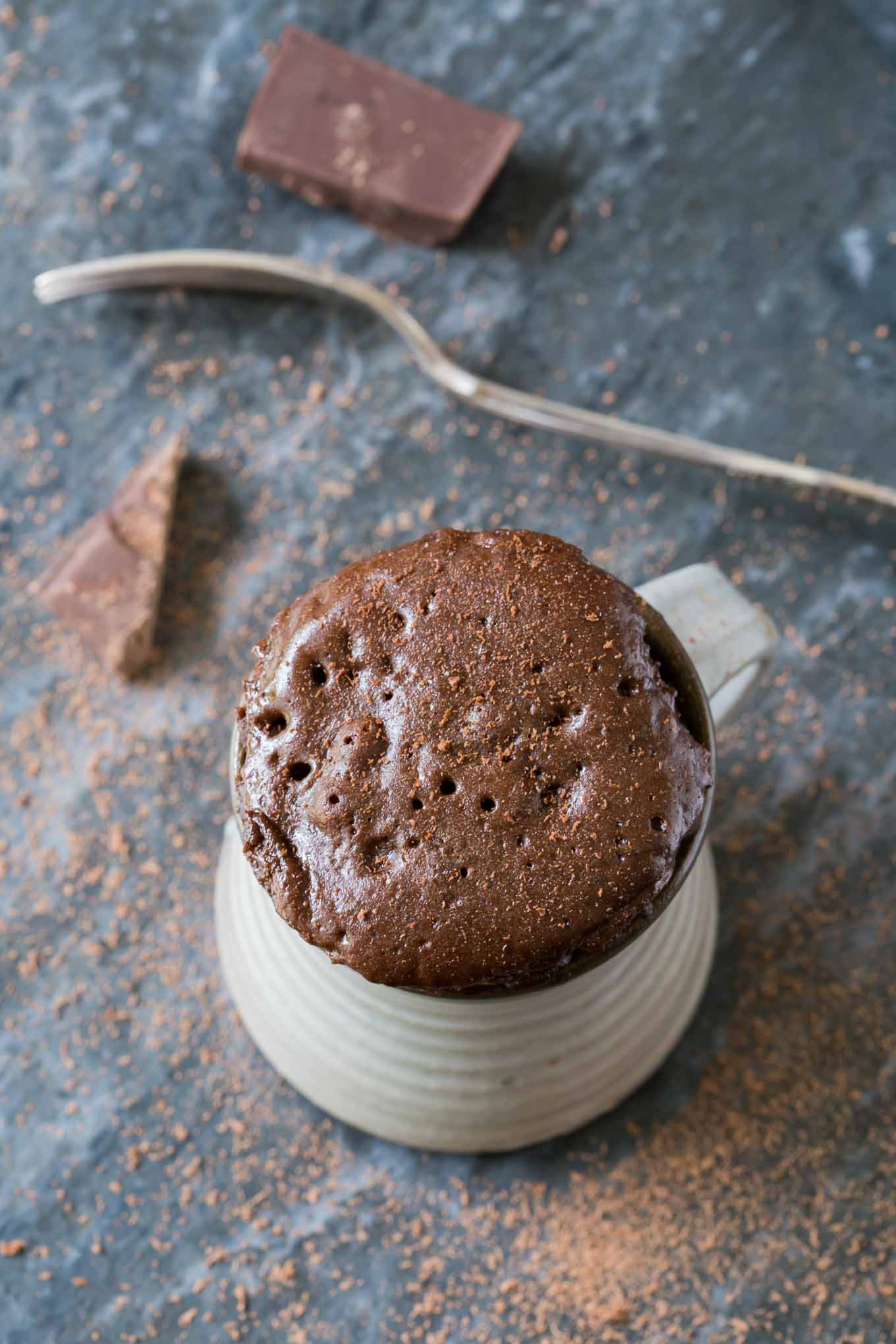 Chocolate cake in a mug recipe is a dream come true for all chocoholics. This no-effort cake cooks in a microwave in minutes! Easy & tasty!