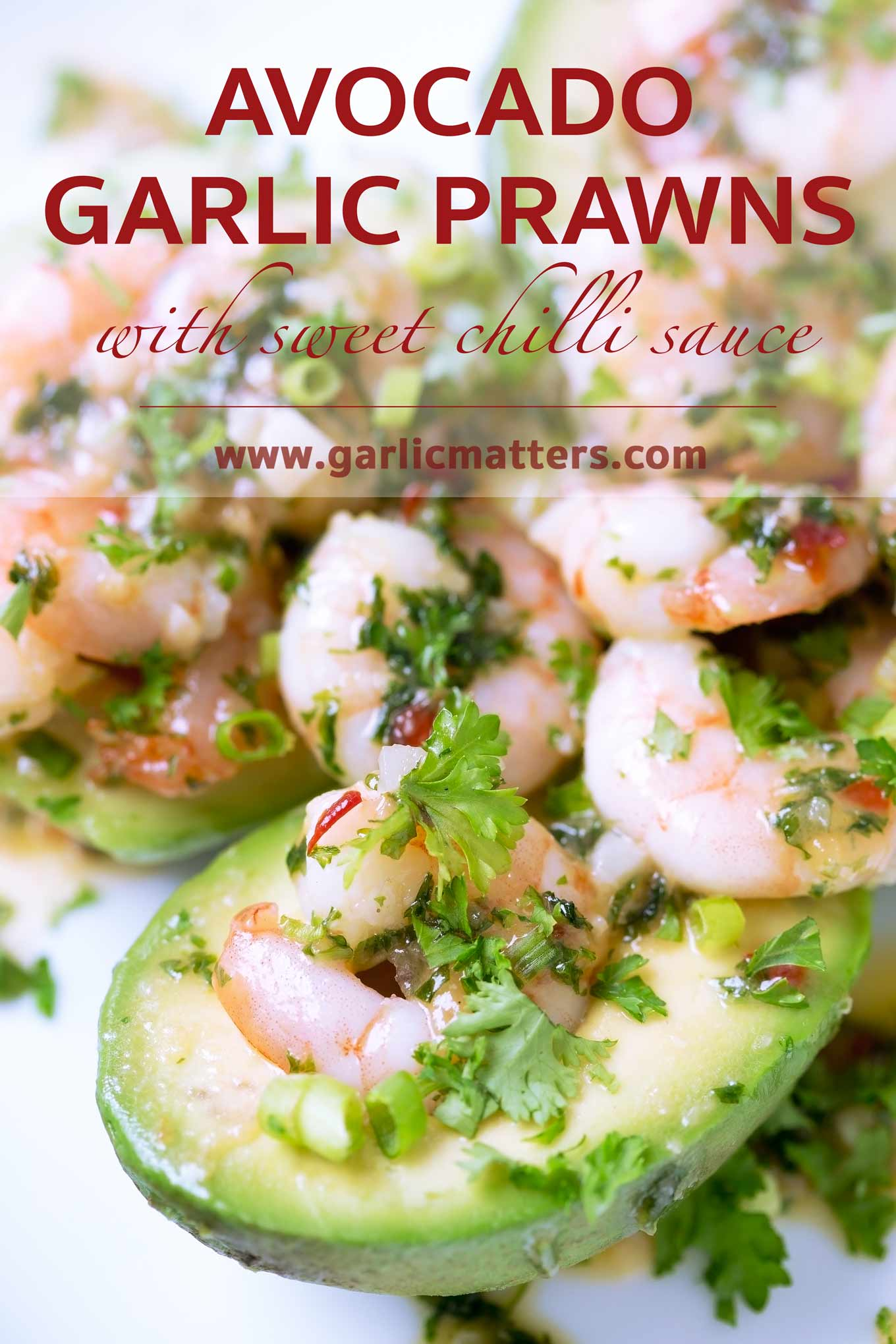 Delicious Garlic Prawns Stuffed Avocado with Sweet Chilli Sauce recipe with only 5 ingredients that can be put together in only 10 min.