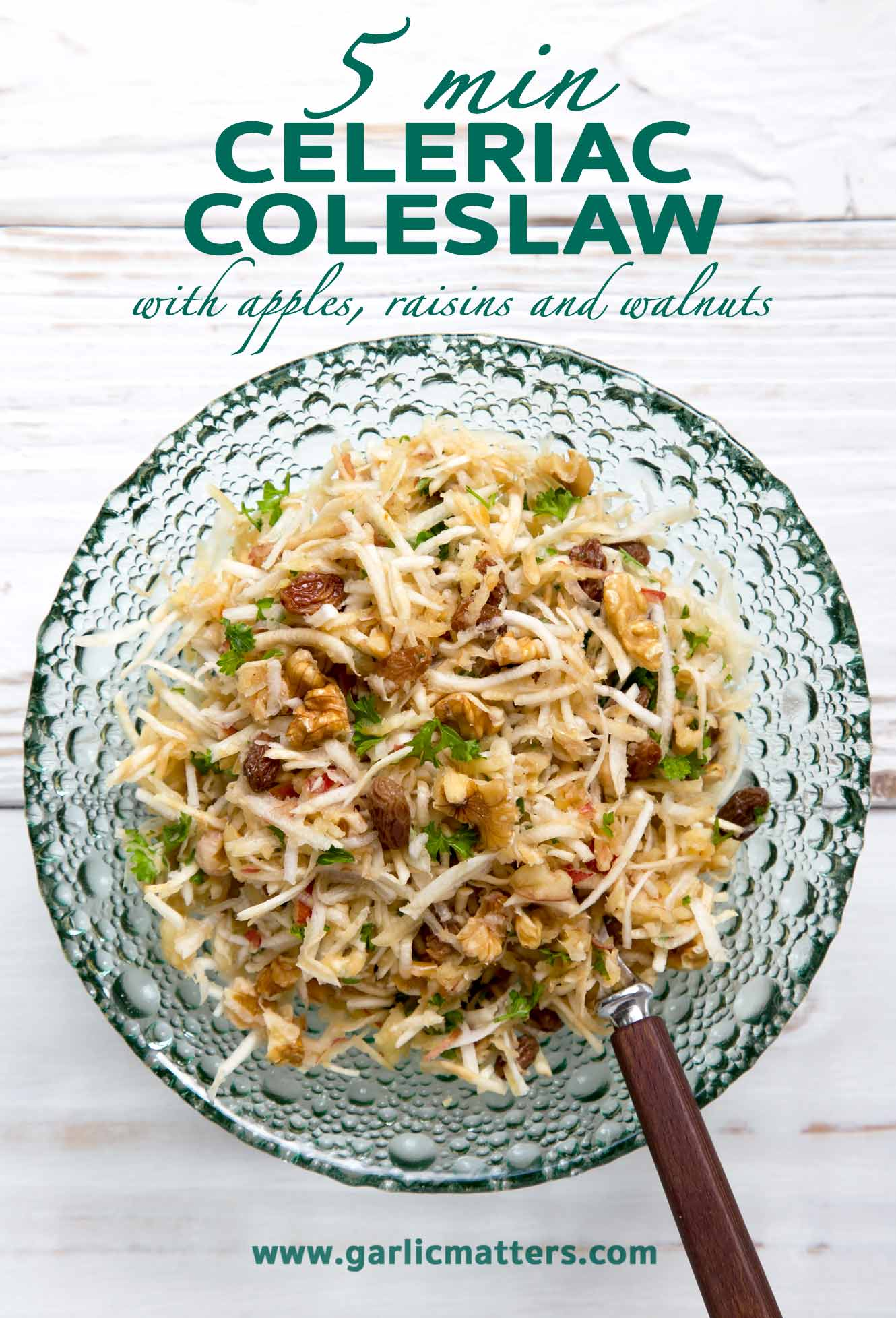 5 min Celeriac coleslaw with apple, raisins and walnuts recipe is my favourite way to eat the oddly looking veg. Vegan, healthy, delicious!