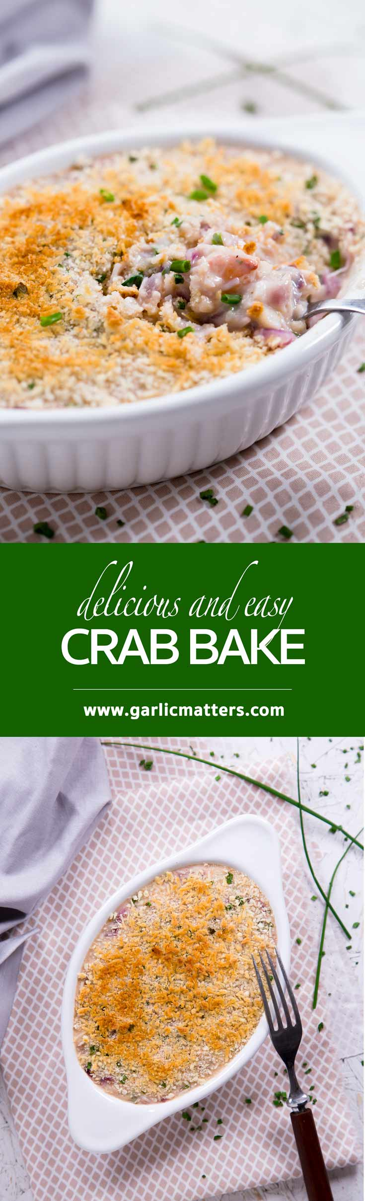 Delicious crab bake is a classy appetizer or light main course idea for all seafood lovers. Flavourful, creamy & really easy, 40 min recipe.