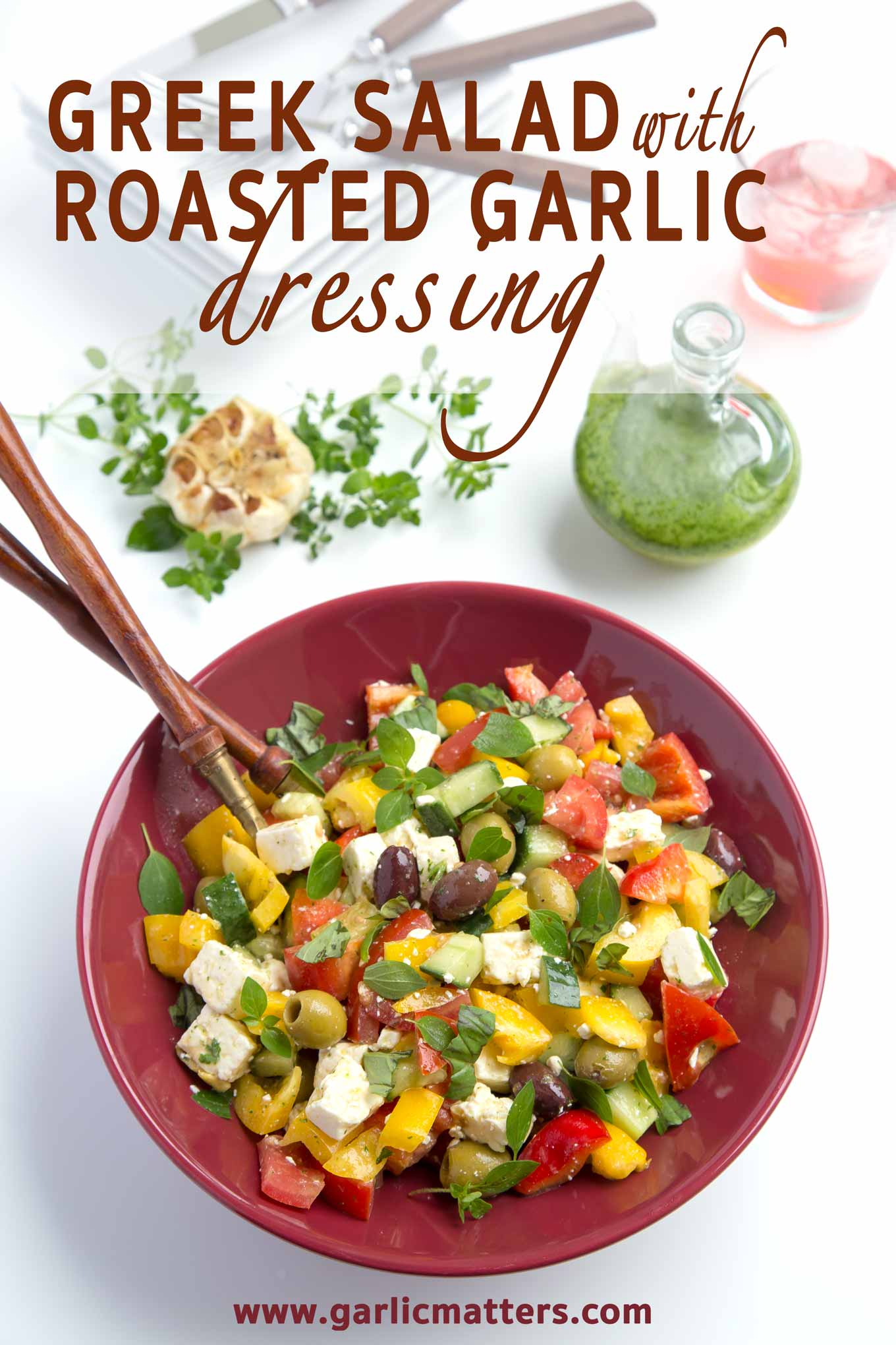 Adding this Roasted Garlic Dressing is an easy way to bring the best out of any raw vegetable salad. Vegan, full of flavour, serves 6.
