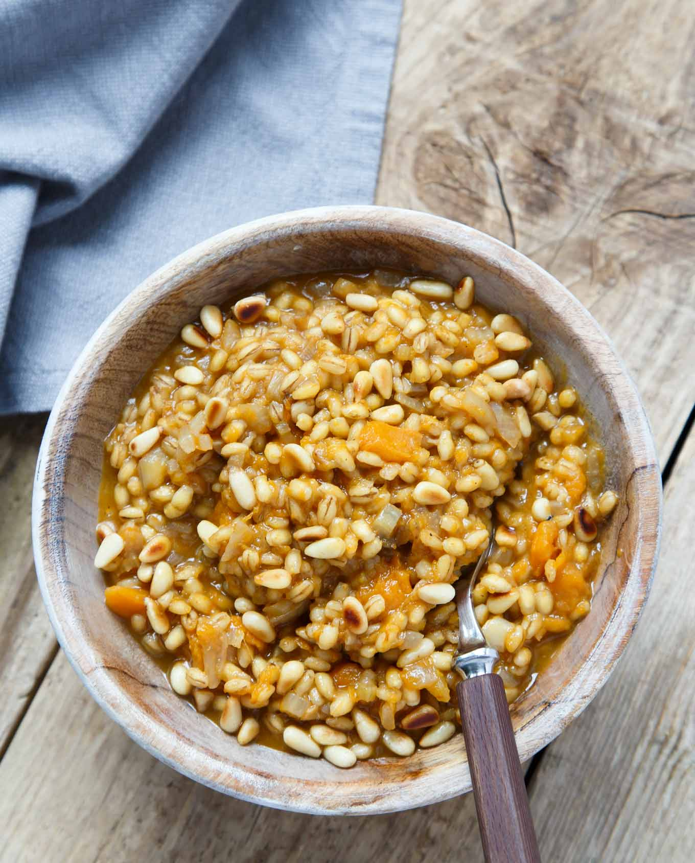 Roasted Butternut Squash Barley Risotto with Toasted Pine Nuts Recipe is an alternative, health boosting, delicious, vegetarian dish. Perfect autumn dinner in.
