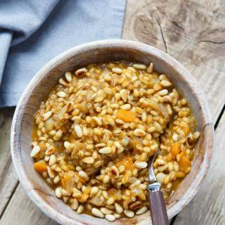ROASTED BUTTERNUT SQUASH BARLEY RISOTTO WITH TOASTED PINE NUTS