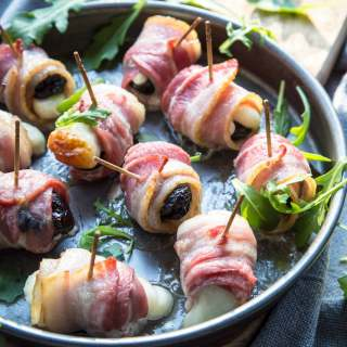 BACON, PRUNE AND HALLOUMI PARTY ROLL-UPS