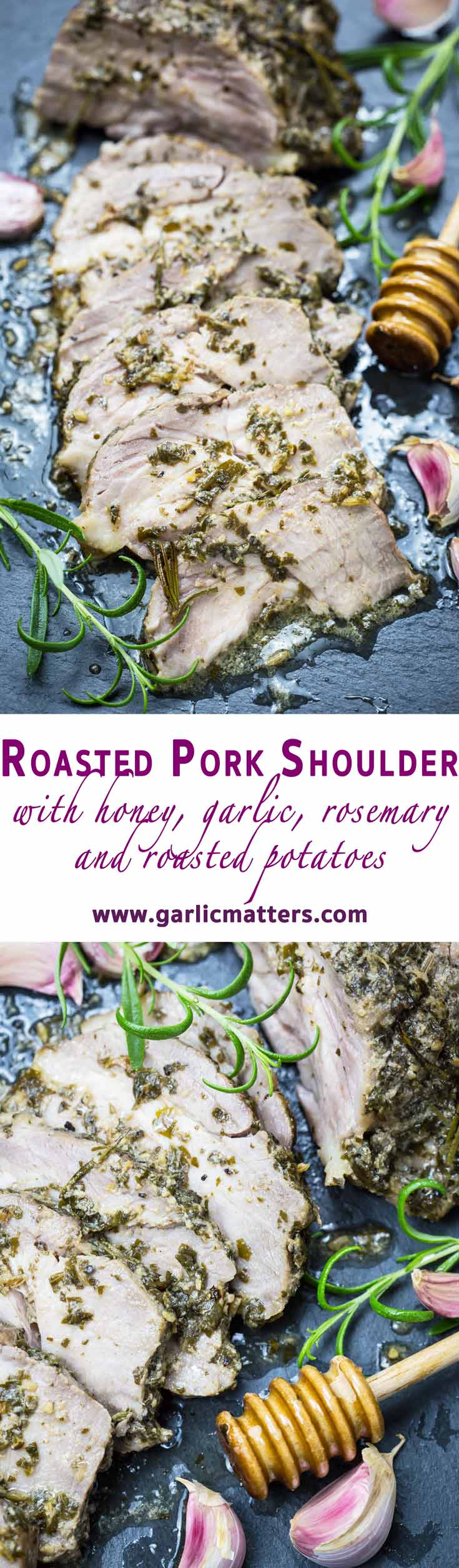 Roasted Pork Shoulder with Honey, Garlic and Rosemary is a restaurant quality dish recipe, yet really easy to make! Easy dinner for 4 ready in 1h.
